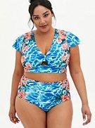 Blue Water Floral Sleeve Swim Top, , hi-res