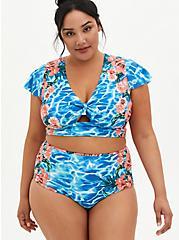 Blue Water Floral Sleeve Swim Top, , fitModel1-hires