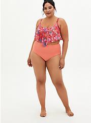 Pink Medallion Flounce Bikini Top, MULTI, alternate