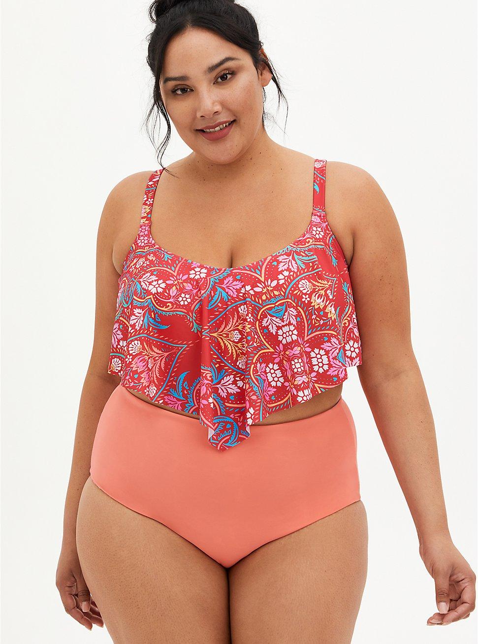 Pink Medallion Flounce Bikini Top, MULTI, hi-res