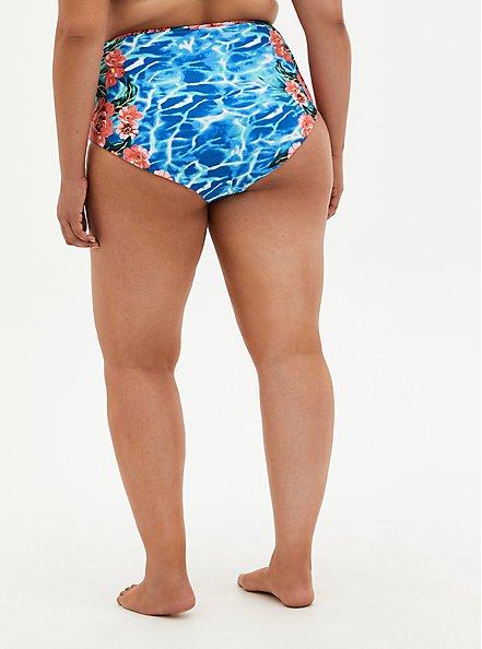 Blue Water Floral Reversible Swim Brief, MULTI, alternate