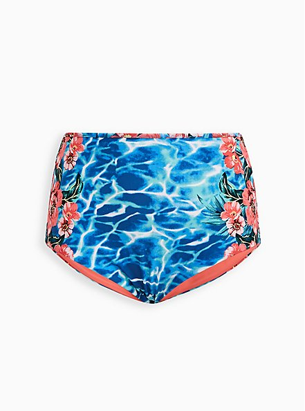 Blue Water Floral Reversible Swim Brief, MULTI, hi-res