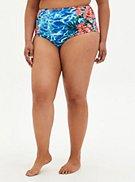 Blue Water Floral Reversible Swim Brief, , hi-res