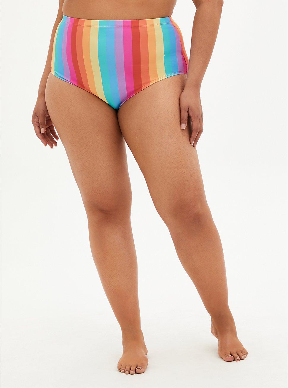 Rainbow High Waist Swim Brief , MULTI, hi-res