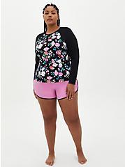 Plus Size Black Floral Active Swim Rashguard, MULTI, alternate