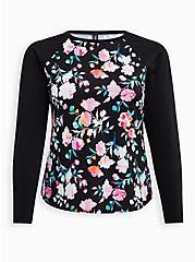 Plus Size Black Floral Active Swim Rashguard, MULTI, hi-res