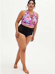 Purple Ice Cream Lattice Front Bikini Top, MULTI, alternate