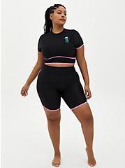 Black Binded Active Swim Biker Short, DEEP BLACK, alternate