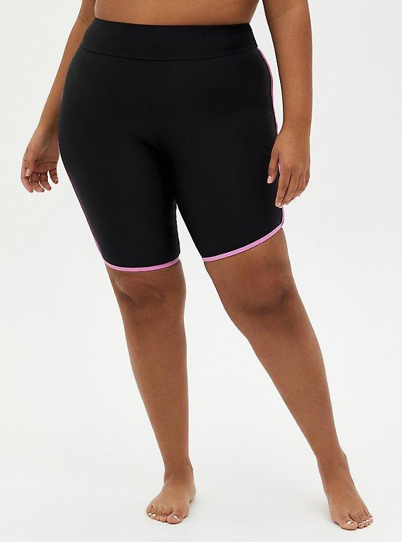Black Binded Active Swim Biker Short, DEEP BLACK, hi-res