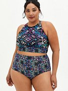 Black Medallion High Neck Bikini Swim Top, , hi-res