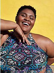 Plus Size Black Medallion High Neck Bikini Swim Top, MULTI, hi-res