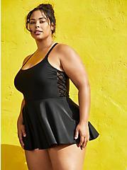 Black Side Tie Swim Dress, DEEP BLACK, hi-res