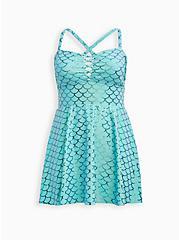Mermaid Peplum Skirt Swim Dress, MULTI, hi-res