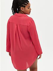 Pink Button Down Shirt Dress Cover Up, PINK, alternate