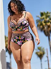 Cheetah Floral Underwire Bikini Top, MULTI, alternate