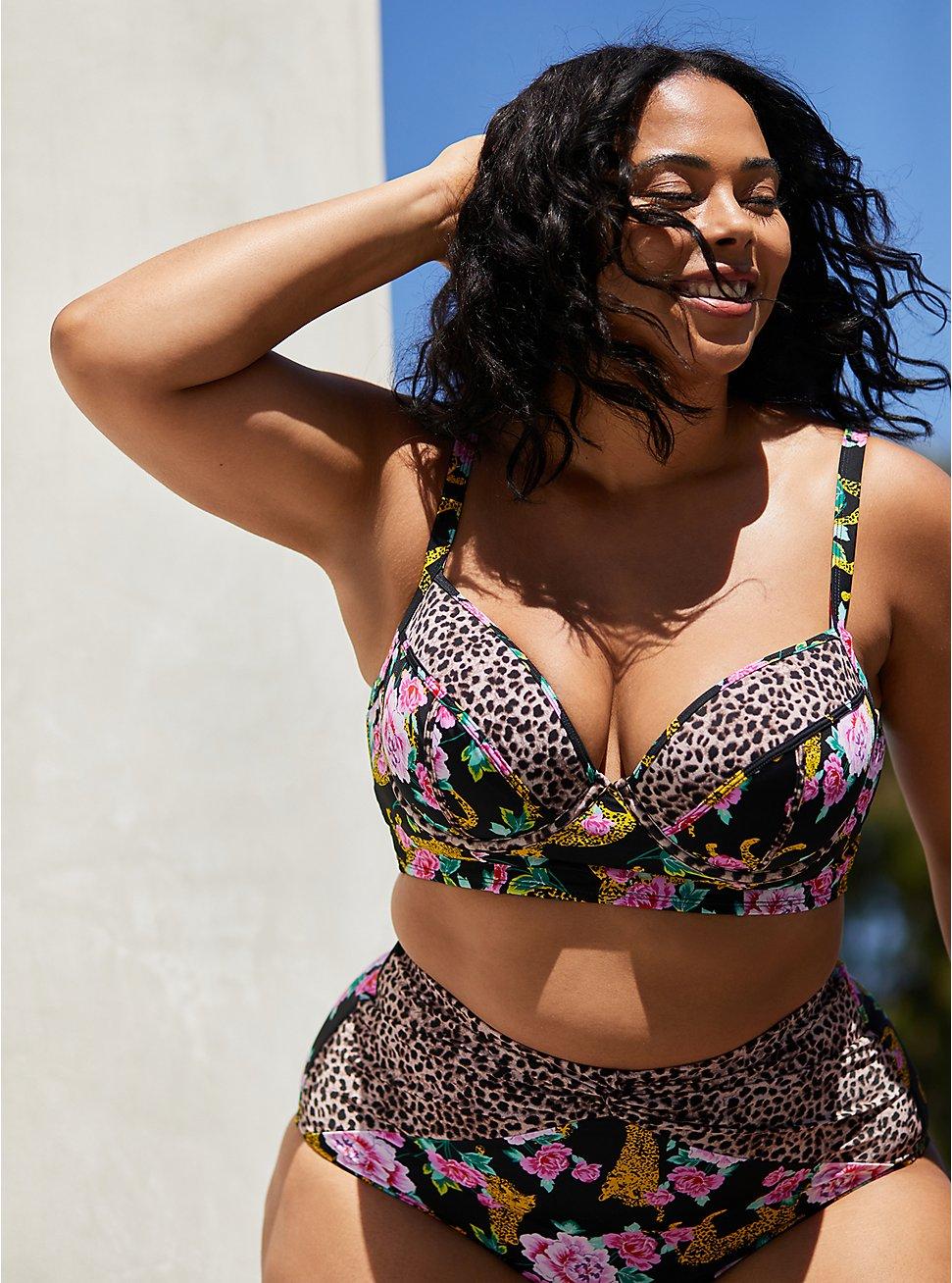 Plus Size Cheetah Floral Underwire Bikini Top, , fitModel1-hires