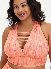 Peach Lattice Front Swim Bikini, ORANGE, alternate