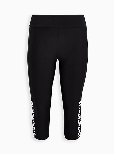 Black Strappy Side Active Swim Crop Legging, DEEP BLACK, hi-res