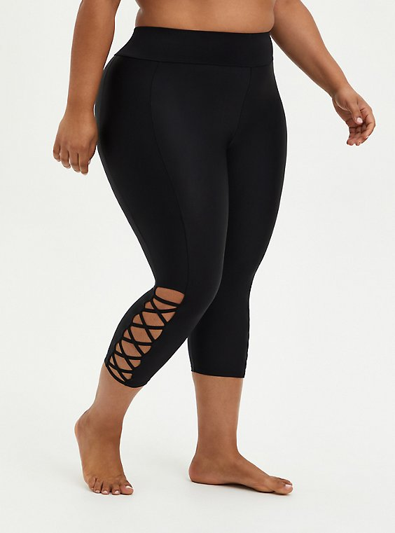 Plus Size Black Strappy Side Active Swim Crop Legging, DEEP BLACK, hi-res