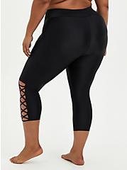 Plus Size Black Strappy Side Active Swim Crop Legging, , fitModel1-alternate