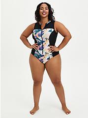 Tropical Zip Front Active Swim One Piece, MULTI, alternate