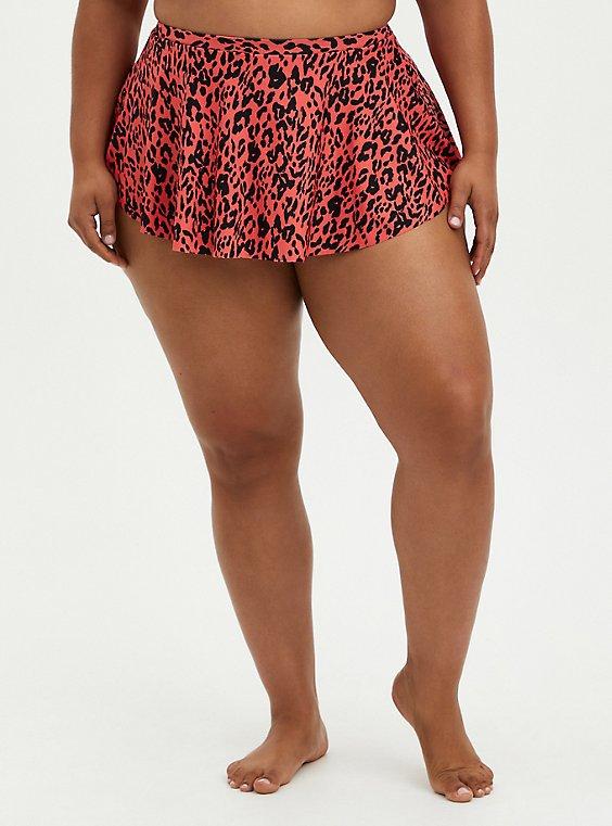 Coral Leopard High Low Swim Skirt, MULTI, hi-res
