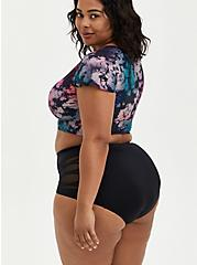 Plus Size Tie Dye Sleeve Swim Bikini Top, MULTI, alternate