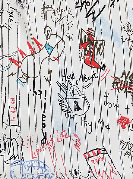 Disney Cruella Doodle Button Down Necktie Blouse , MULTI, alternate