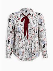 Disney Cruella Doodle Button Down Necktie Blouse , MULTI, hi-res