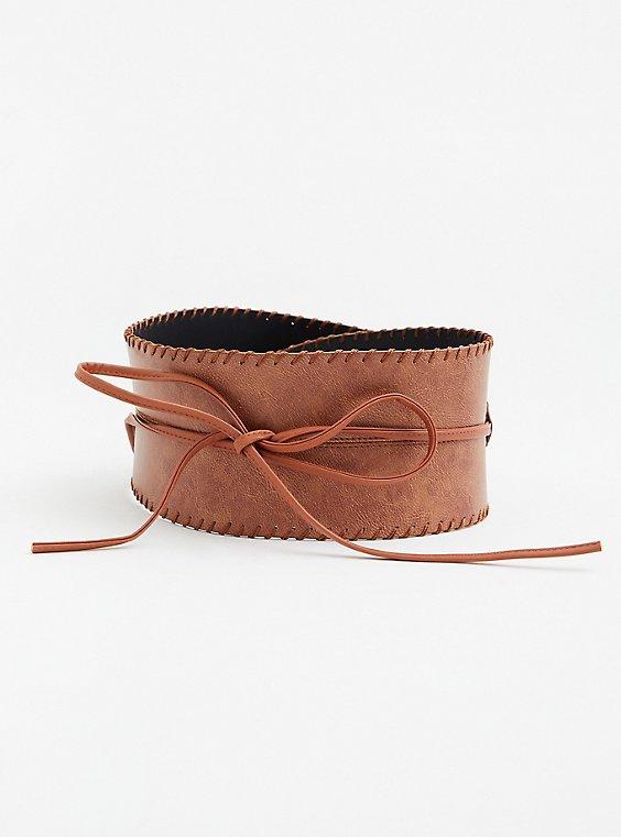Cognac Faux Leather Ribbon Waist Belt, , hi-res