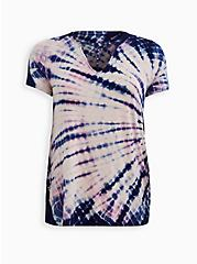 Super Soft Blush Pink Tie-Dye Strappy Neck Tee, OTHER PRINTS, hi-res