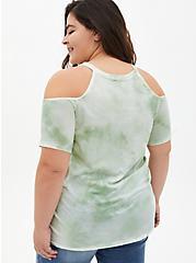 Cold-Shoulder Tee - Vibe Tie-Dye Jade Green , GRAYED JADE, alternate