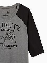 The Office Schrute Farms Classic Fit Raglan Tee - Heather Grey, MEDIUM HEATHER GREY, alternate