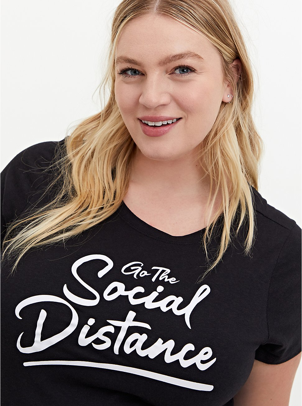 Slim Fit Crew Tee - Triblend Social Distance Black , DEEP BLACK, hi-res