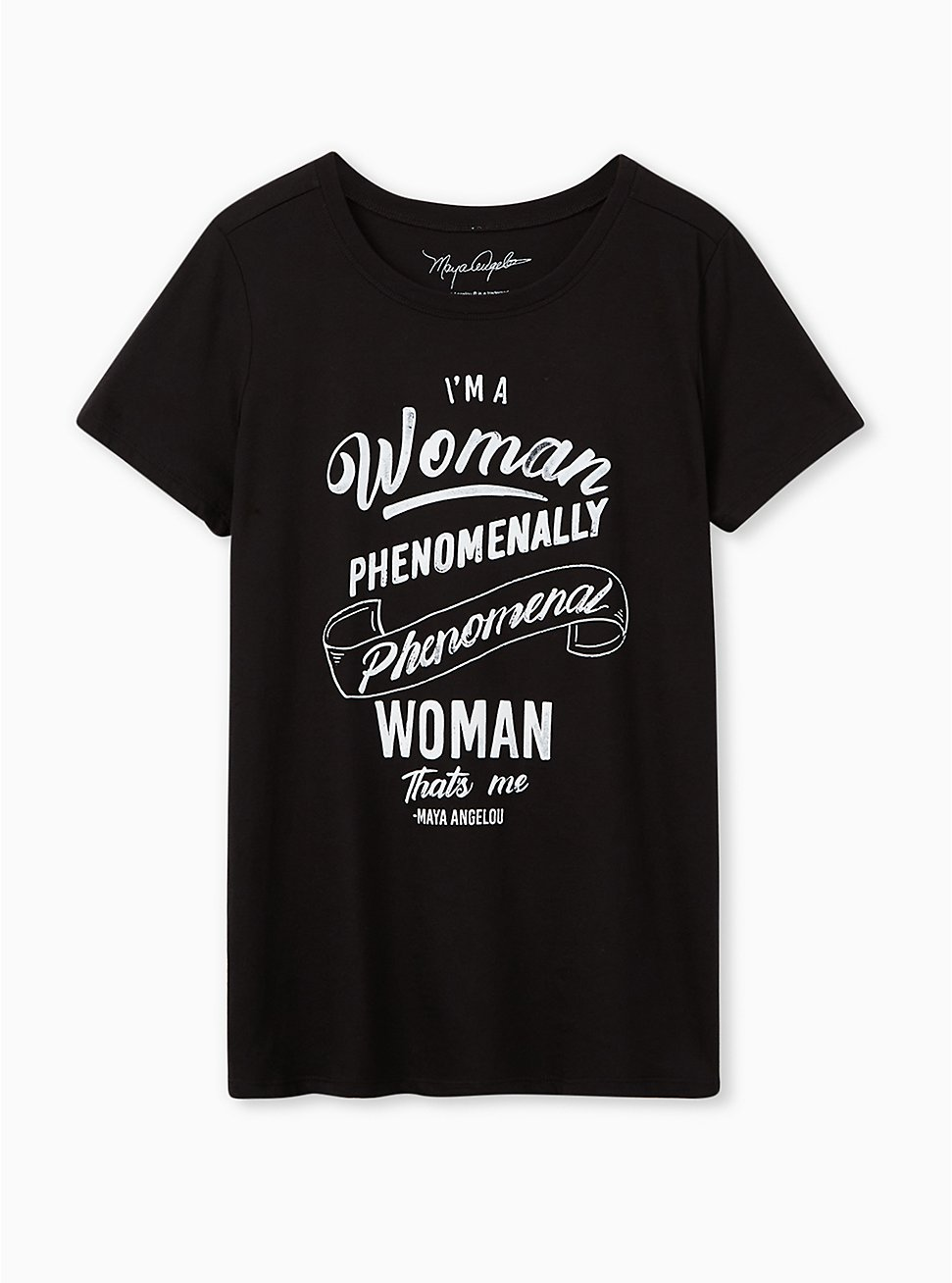 #TorridStrong Slim Fit Tee - Maya Angelou Black , BRIGHT WHITE, hi-res