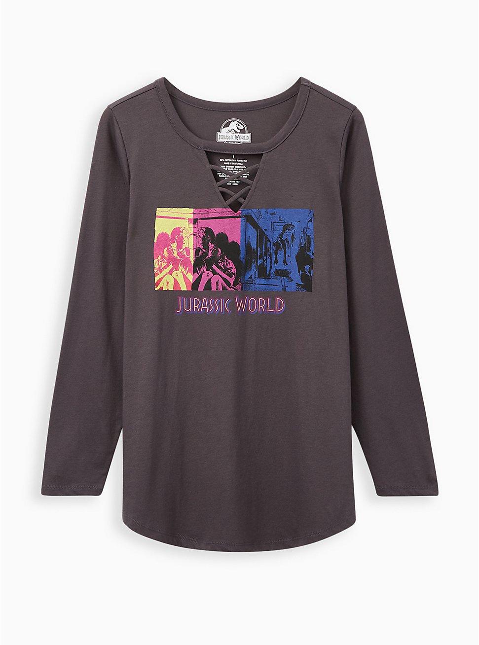 Jurassic World Raptor Grey Lattice Long Sleeve Top , NINE IRON, hi-res