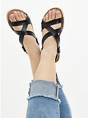 Black Faux Leather Espadrille Sandal (WW), BLACK, alternate