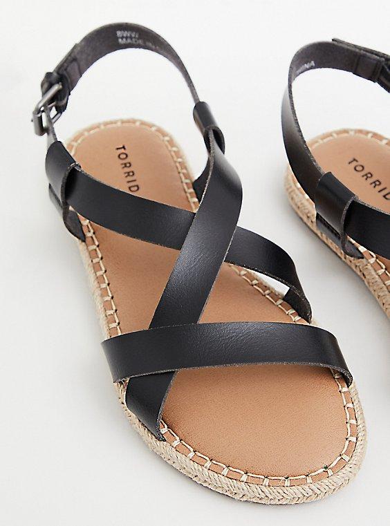Black Faux Leather Espadrille Sandal (WW), BLACK, hi-res
