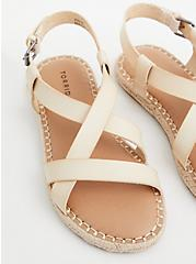 Beige Faux Leather Espadrille Sandal (WW), BONE, alternate