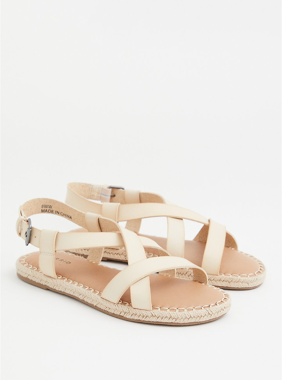 Beige Faux Leather Espadrille Sandal (WW), BONE, hi-res
