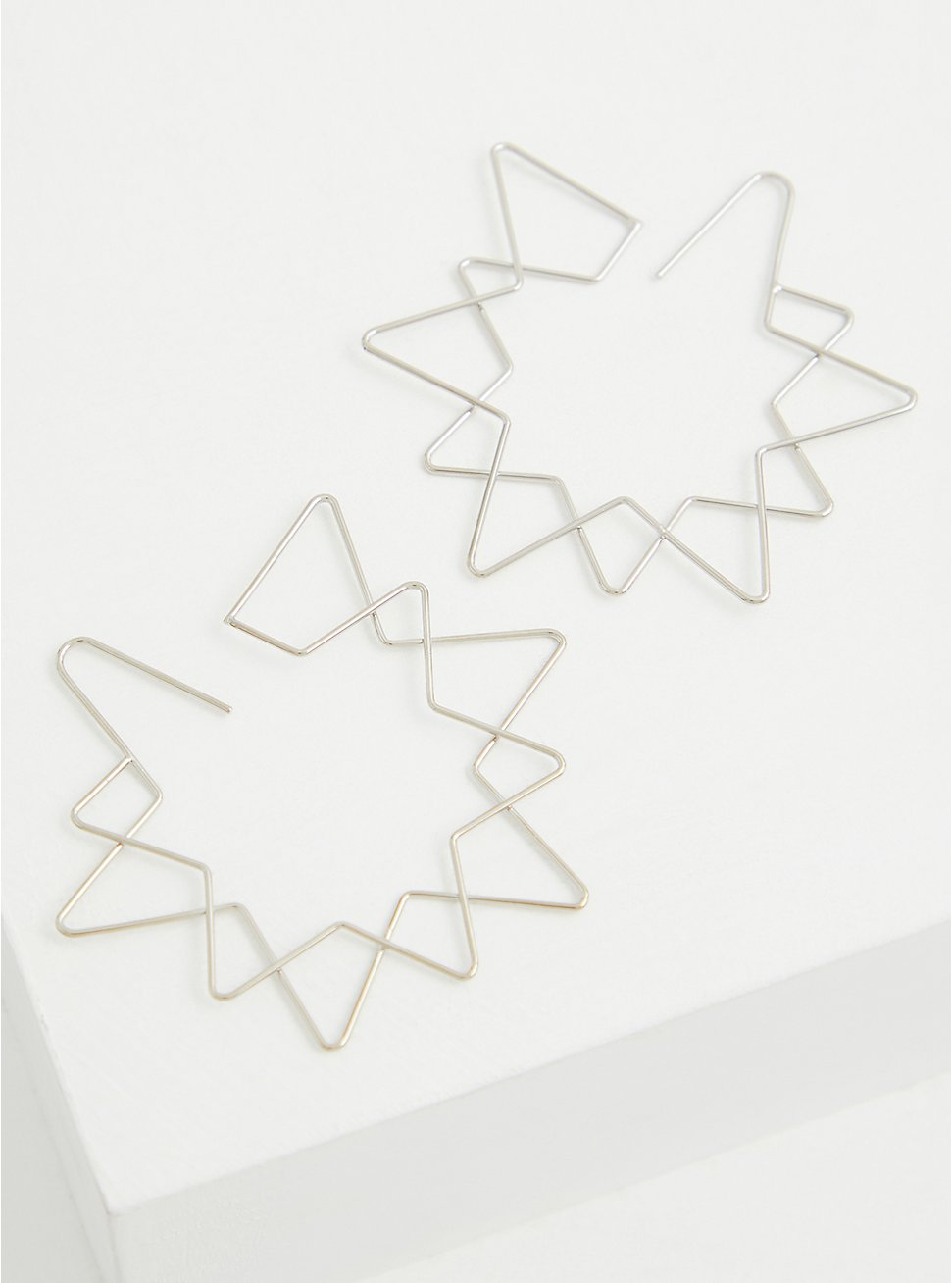 Silver-Tone Double Star Hoop Earring, , hi-res