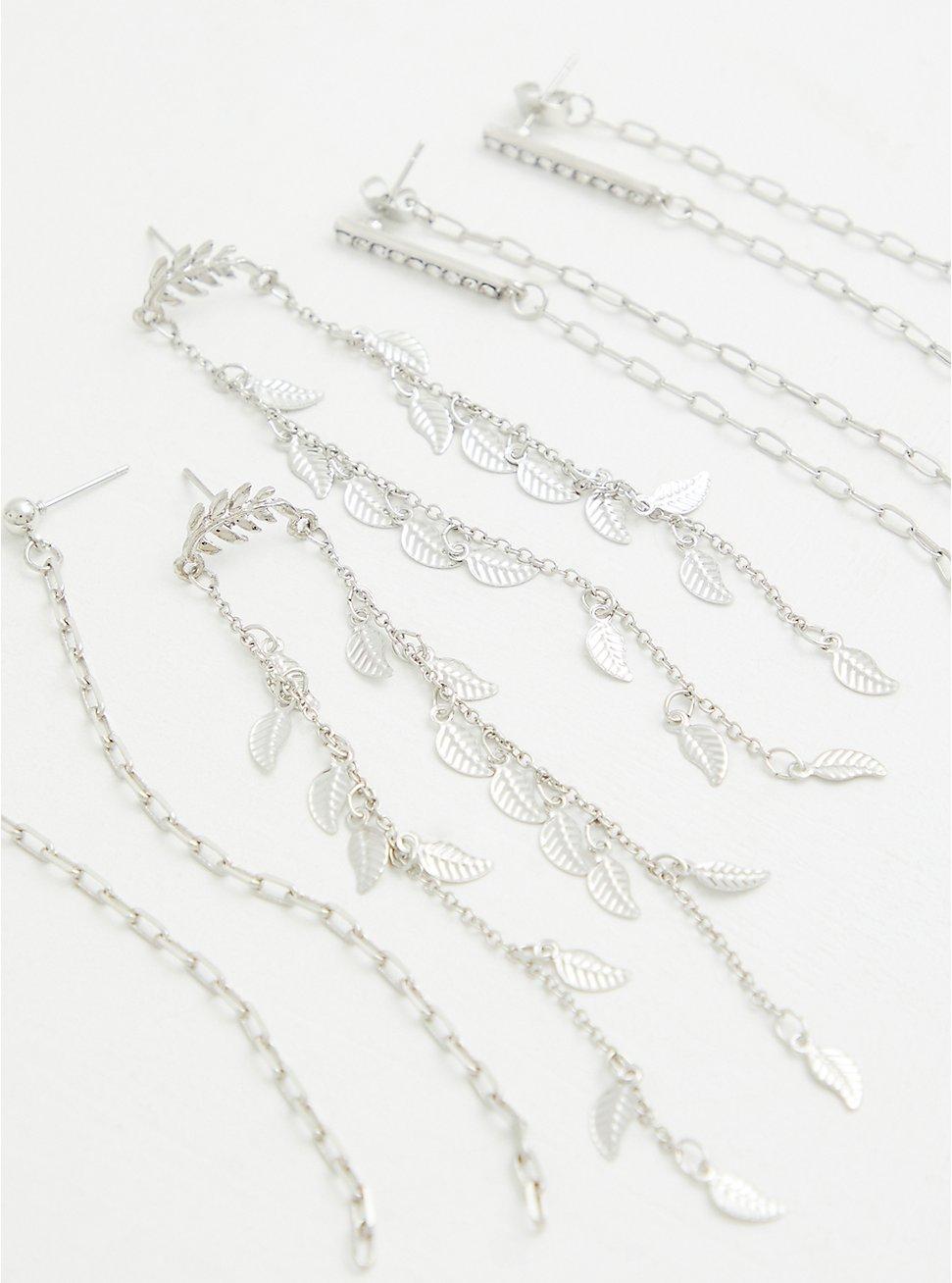 Silver-Tone Drop Earrings Set - Set of 3, , hi-res