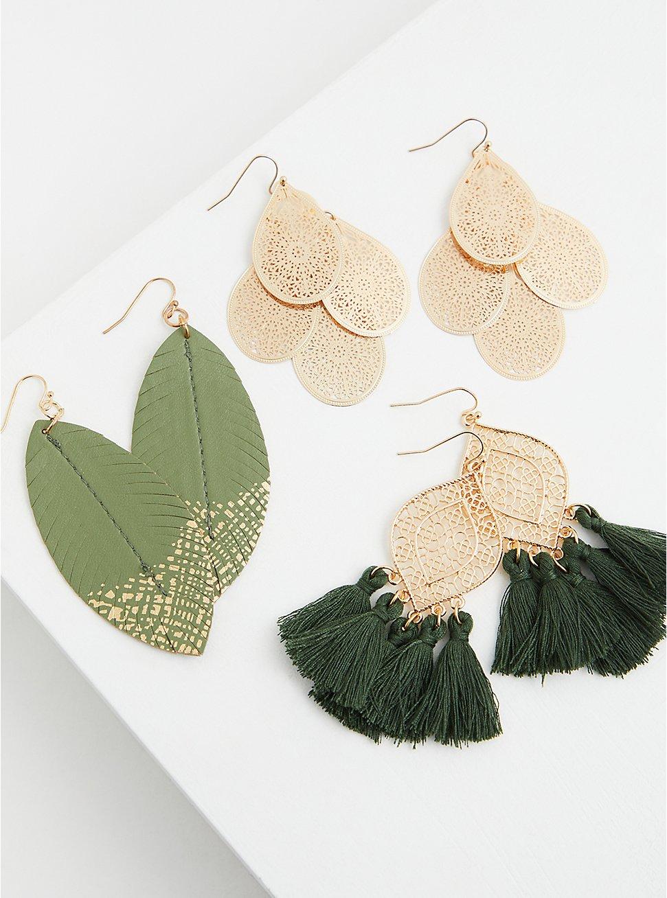 Gold-Tone Leaf Earrings Set - Set of 3, , hi-res