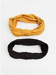 Black & Mustard Yellow Knot Headband Set - Set of 2, , hi-res