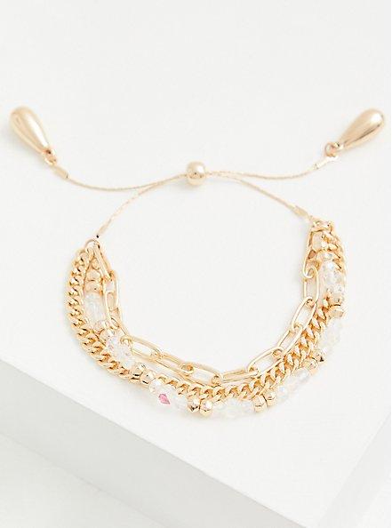 Gold-Tone Beaded Pull Clasp Bracelet, , hi-res