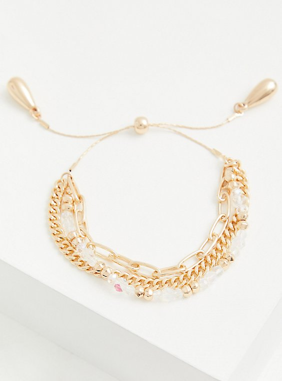 Gold-Tone Beaded Pull Clasp Bracelet, , hi-res