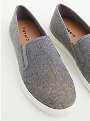 Charcoal Grey Canvas Slip-On Sneaker (WW), GREY, alternate