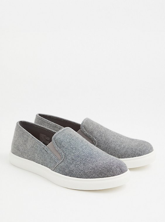 Charcoal Grey Canvas Slip-On Sneaker (WW), , hi-res