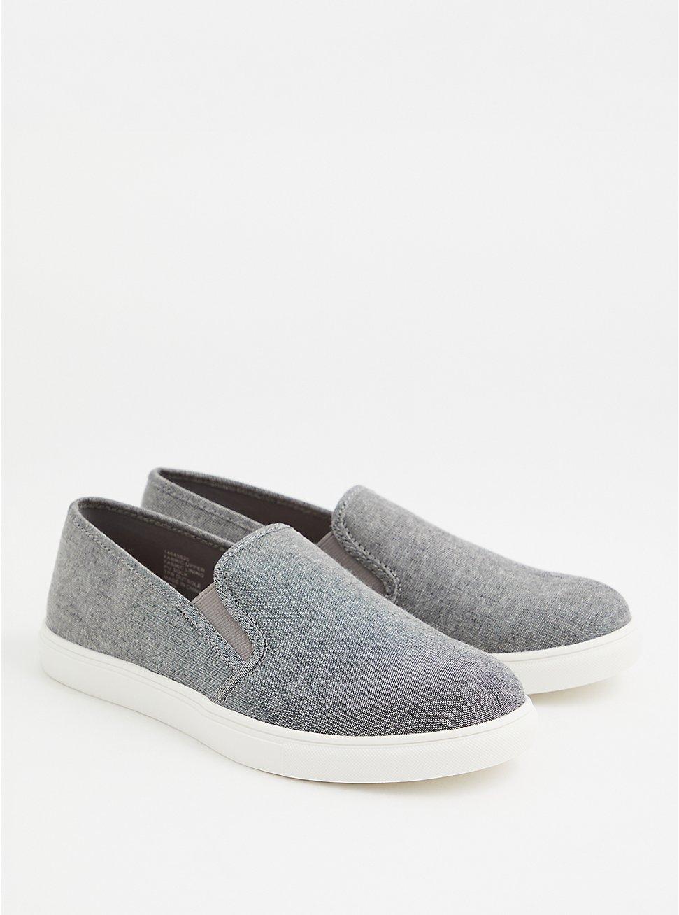 Charcoal Grey Canvas Slip-On Sneaker (WW), GREY, hi-res