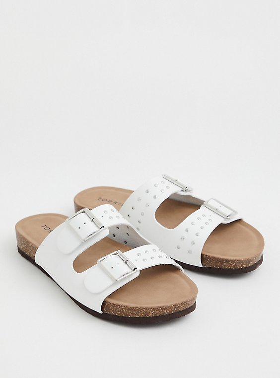 White Faux Leather Studded Buckle Slide Sandal (WW), WHITE, hi-res